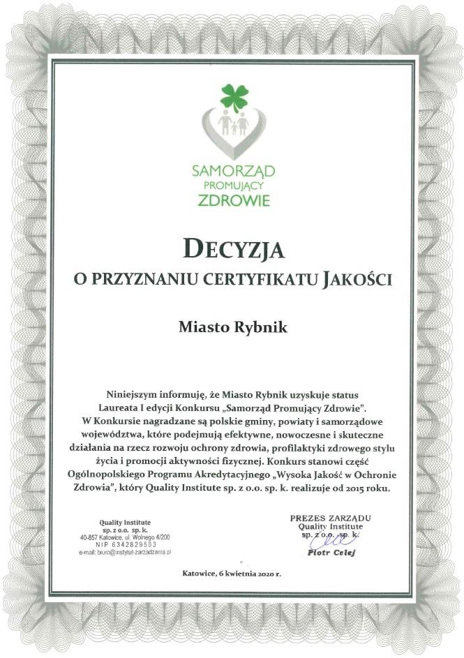 Decyzja certyfikat konkursu dla Miasta Rybnik