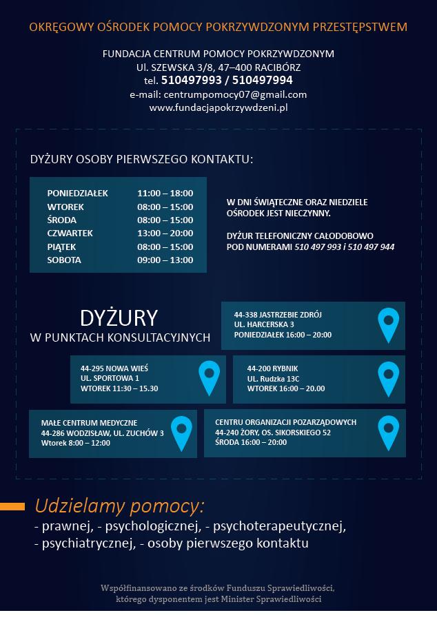 Plakat informacyjny Orkęgowego Ośrodka Pomocy Pokrzywdzonym Przestępstwem